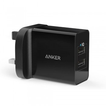 Anker B2021 24W 2-Port USB Wall Charger and Micro USB Cable with PowerIQ - Black