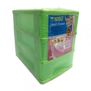 NISO 3 Tier Small Drawer Green 17 x 4.5 x 12cm