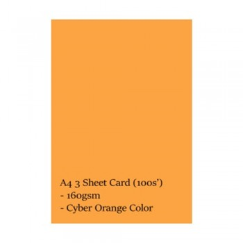 A4 3 Sheet Card 160gsm 100s' (Cyber Orange)