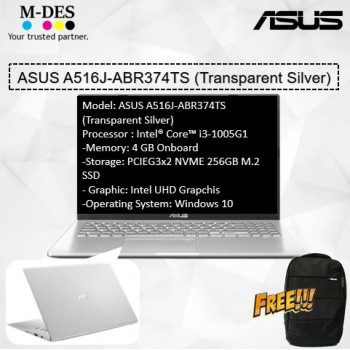 Asus Notebook (A516J-ABR374TS) - Transparent Silver