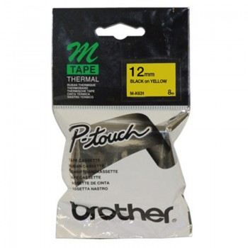 Brother M-K631 Black on Yellow 12mm Tape
