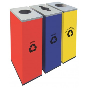 Rectangular Recycle Bins c/w Mild Steel Body & Stainless Steel Cover-RECYCLE-135/SS (Item No: G01-301)