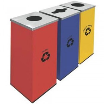 Square Recycle Bins c/w Mild Stainless Steel Cover-RECYCLE-129/SS (Item No: G01-304)