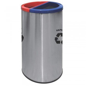 Round Recycle Bins c/w Stainless Steel Body & Powder Coating Cover-Recycle-136/SS (Item No: G01-292)