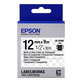 Epson Label Cartridge 12mm Black on Transparent Tape