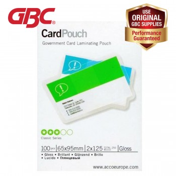 GBC Government Card Laminating Pouch - 125 Micron, 65 x 95mm Gloss, 100 pcs