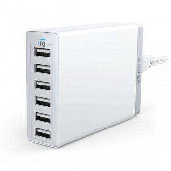 Anker A2123 PowerPort 60W 6-Port USB Desktop Charger - White