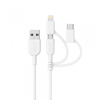 Anker PowerLine II 3-in-1 Lightning/Type-C/Micro Connector Cable White (0.9M)