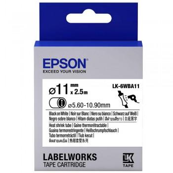 Epson Black on White, Heat Shrink, DIA.1(Item No:EPS LK-6WBA11)