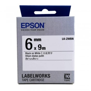 Epson LK-2WBN LabelWorks Tape - 6mm Black on White Tape (Item no: EPS LK-2WBN)