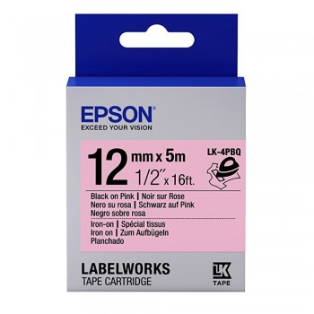 Epson LK-4PBQ 12mm Black on Pink Tape (Iron On)