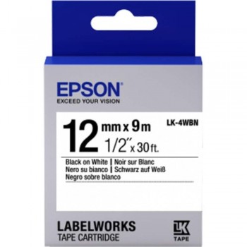 Epson LK-4WBN LabelWorks Tape - 12mm Black on White Tape (Item No: EPS LK-4WBN)
