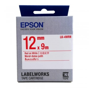 Epson LK-4WRN LabelWorks Tape - 12mm Red on White Tape (Item no: EPS LK-4WRN)