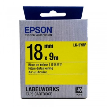 Epson LK-5YBP LabelWorks Tape - 18mm Black on Yellow Tape (Item no: EPS LK-5YBP)