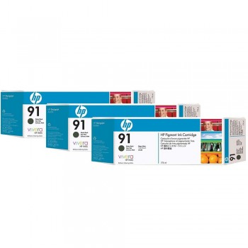 HP 91 DesignJet Pigment Ink Cartridges (3-pack) 775-ml - Matte Black (C9480A)