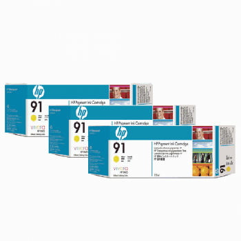 HP 91 DesignJet Pigment Ink Cartridges (3-pack) 775-ml - Yellow (C9485A)