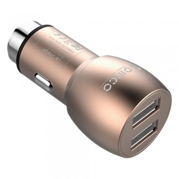 Orico 15.5W 2 Port USB Car Charger with Safety Hammer - Gold