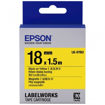 Epson Label Cartridge 18mm Black on Yellow Magnetic