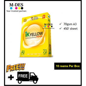 IK YELLOW A3 Paper 70gsm (450's) *Mixable with A4