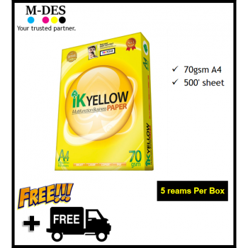 IK YELLOW A4 Paper 70gsm (500's) *Mixable A3 or GSM