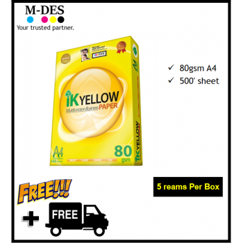 IK YELLOW A4 Paper 80gsm (500's) *Mixable A3 or GSM