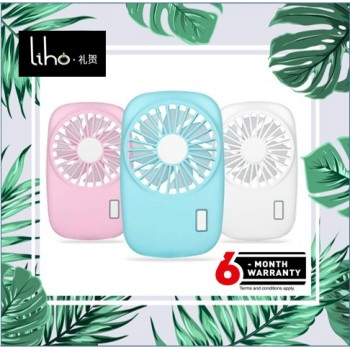 LIHO Cute Portable Handheld Fan Mini USB Rechargeable (Pink)