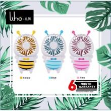 LIHO Cute Bee Portable Handheld Fan Mini USB Rechargeable Fan *LED light (Yellow)