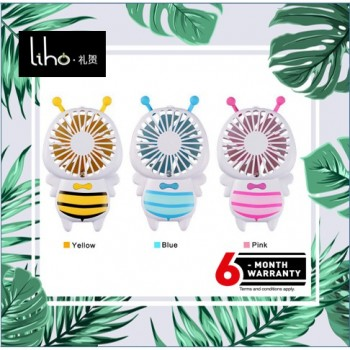 LIHO Cute Bee Portable Handheld Fan Mini USB Rechargeable Fan *LED light (Yellow)