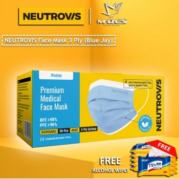 Neutrovis 3Ply Earloop Extra Protection Extra Soft For Skin Sensitive Premium Medical Face Mask Blue Jay (50's)