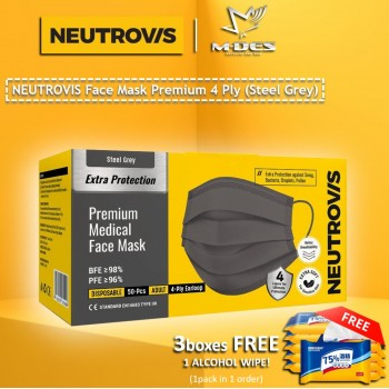 Neutrovis 4Ply Earloop Extra Protection Extra Soft For Skin Sensitive Premium Medical Face Mask Steel Grey (50's)