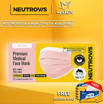 Neutrovis 3Ply Earloop Extra Protection Extra Soft For Skin Sensitive Premium Medical Face Mask (Kids) (50's) - Pink