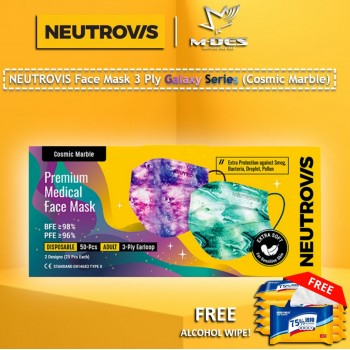 Neutrovis 3Ply Earloop Extra Protection Extra Soft For Skin Sensitive Premium Medical Face Mask Galaxy Series - Cosmic Marble (50's)