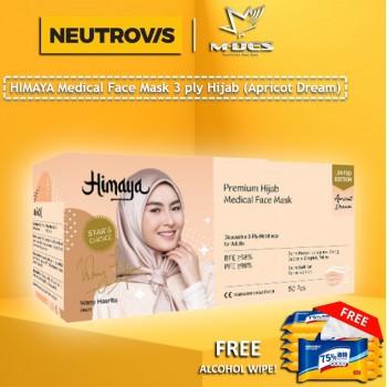 HIMAYA Medical Face Mask 3 Ply Hijab Headloop Apricot Dream  - 50pcs