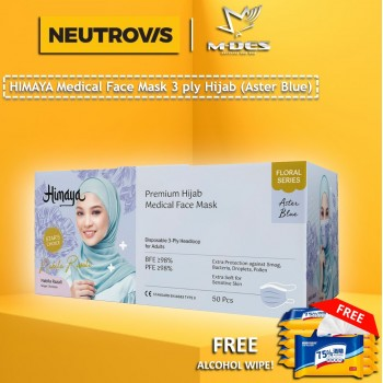 HIMAYA Medical Face Mask 3 Ply Hijab Headloop Astar Blue - 50pcs