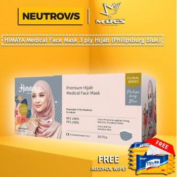 HIMAYA Medical Face Mask 3 Ply Hijab Headloop Philipsburg Blue  - 50pcs