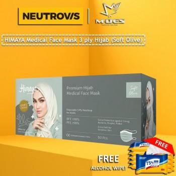 HIMAYA Medical Face Mask 3 Ply Hijab Headloop Soft Olive  - 50pcs
