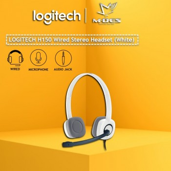 Logitech H150 Stereo Headset with Noise-Cancelling Mic (White)
