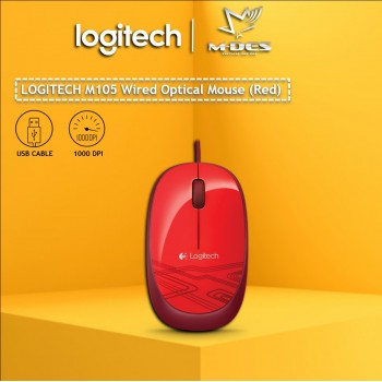 Logitech M105 Corded Mouse (Red)