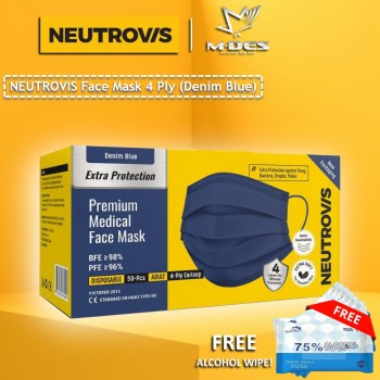 Neutrovis 4Ply Earloop Extra Protection Extra Soft For Skin Sensitive Premium Medical Face Mask Denim Blue (50's)