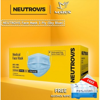 Neutrovis 3Ply Earloop Extra Protection Medical Face Mask Sky Blue (50's)