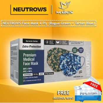 Neutrovis 4Ply Earloop Extra Protection Extra Soft For Skin Sensitive Premium Medical Face Mask Barrack Series (50's)