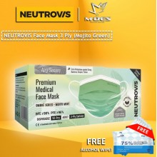 Neutrovis 3Ply Earloop Extra Protection Extra Soft For Skin Sensitive Premium Medical Face Mask Mojito Mint (50's)