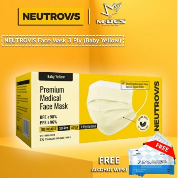 Neutrovis 3Ply Earloop Extra Protection Extra Soft For Skin Sensitive Premium Medical Face Mask Baby Yellow (50's)