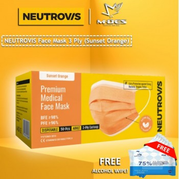Neutrovis 3Ply Earloop Extra Protection Extra Soft For Skin Sensitive Premium Medical Face Mask Sunset Orange (50's)