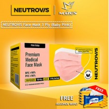 Neutrovis 3Ply Earloop Extra Protection Extra Soft For Skin Sensitive Premium Medical Face Mask Baby Pink (50's)