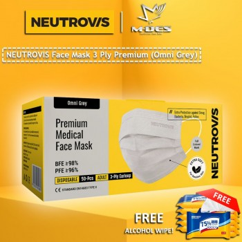 Neutrovis 3Ply Earloop Extra Protection Extra Soft For Skin Sensitive Premium Medical Face Mask Airy Secure Omni Grey (50's)
