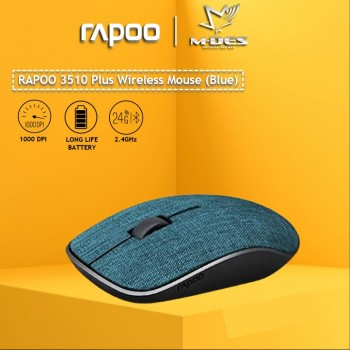 RAPOO 3510 Plus 2.4GHz Wireless Optical Fabric Mouse (Blue)