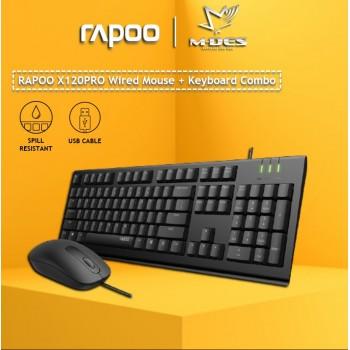 [Waterproof] RAPOO X120 Pro Wired Mouse + Keyboard (Combo Set)