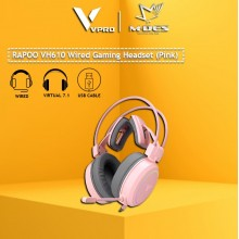 RAPOO VH610 VIRTUAL 7.1 CHANNELS WIRED GAMING HEADSET (Pink)