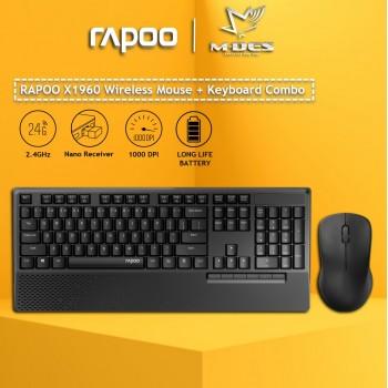 Rapoo X1960 Wireless Optical Mouse & Keyboard Black